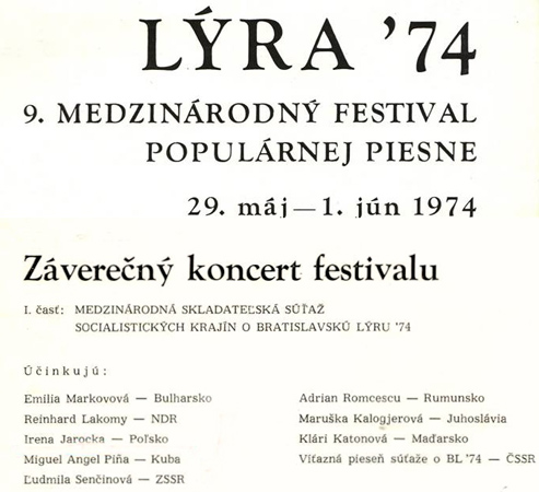International Pop Song Festival Bratislavska Lyra '74